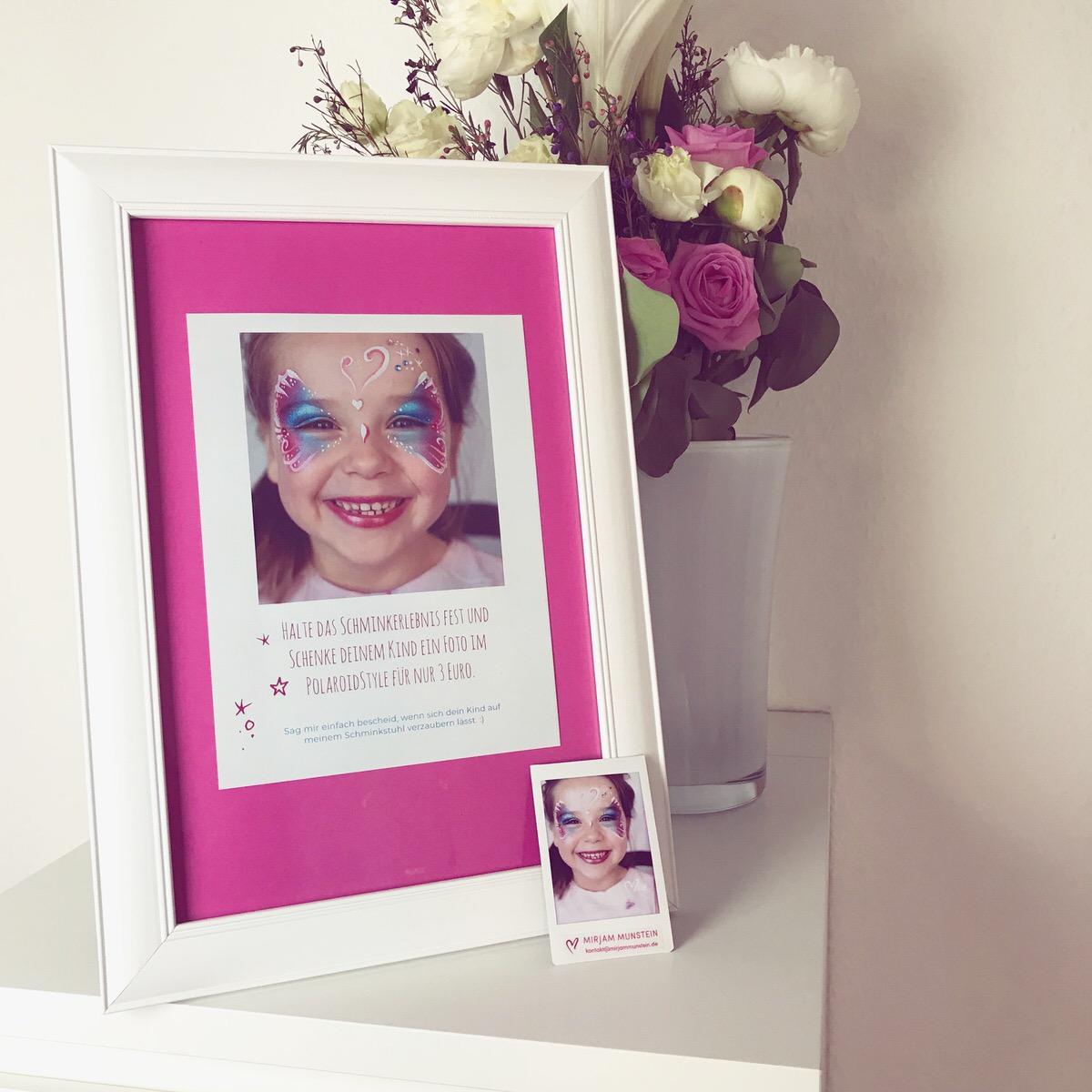 Kinderschminken Polaroidfoto
